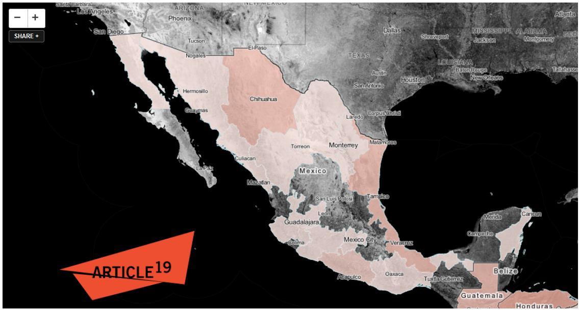 Karte der Gewalt: Aggressionen gegenüber Journalisten in Mexiko